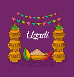 Ugadi traditional celebration decorative kalash vector