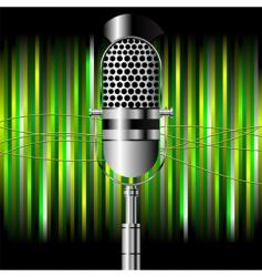 vintage microphone over stripes vector image