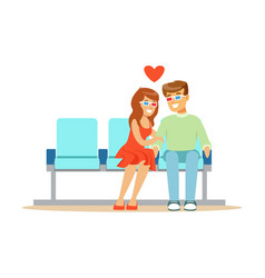 Young beautiful couple in love sitting in the vector