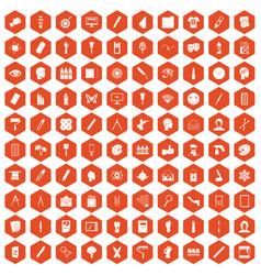 100 paint icons hexagon orange vector