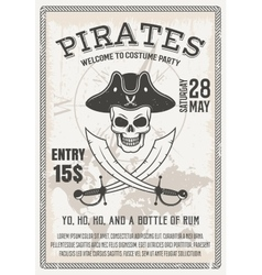Pirates Costume Party Poster vector image