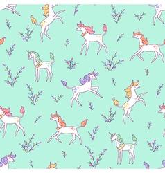 Unicorns pattern meadow vector