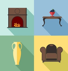 Furniture set with fireplace in outlines digital i vector