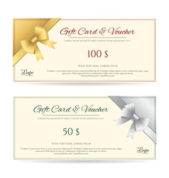 Gift card voucher gold silver ribbon vector