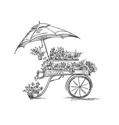 Flower stall florist cart vector