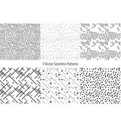 set of monochrome geometric patterns seamless vector image