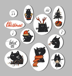 hand drawn abstract christmas stickers vector image
