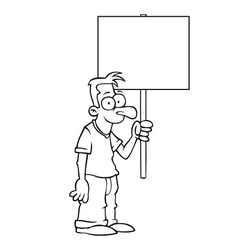 Black and white happy man with protest sign vector