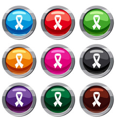 Breast cancer awareness ribbon set 9 collection vector