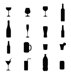 Set of sixteen drink black silhouettes vector