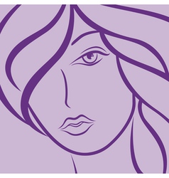 Female laconic heads outline in violet vector