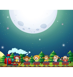 Train and fullmoon vector