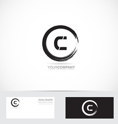Grunge letter c circle logo vector