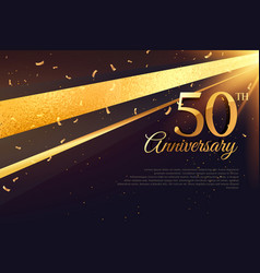 50th anniversary celebration card template vector