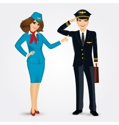 Pilot and stewardess in uniform vector