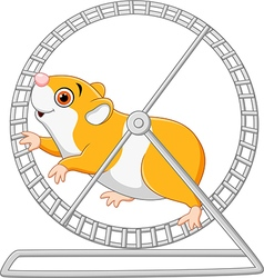 Cute hamster running in rolling wheel vector