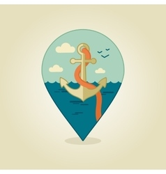Anchor pin map icon marine sea vector