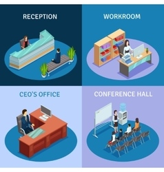Office isometric 4 icons square composition vector