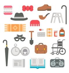 Flat design grandparents items vector image