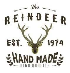 Authentic hipster logotype with reindeer and vector image