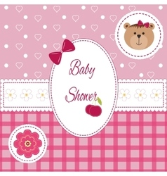 Baby girl arrival shower Greeting announcement vector image vector image