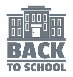 Back to school logo simple gray style vector