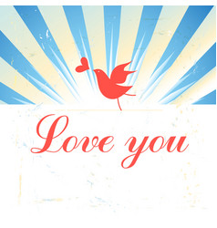 Bright graphics greeting card with a bird in love vector