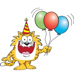 Cartoon Cat Holding Balloons vector image