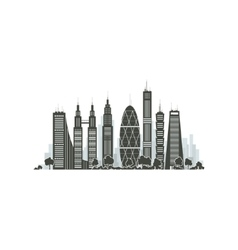 City Financial Center Isolated on White vector image vector image