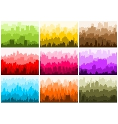 City skyline silhouettes set vector image