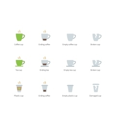 Coffee cup color icons on white background vector image vector image