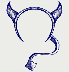 Devil horns and tail vector image vector image