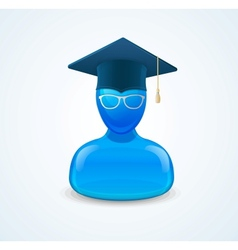 Education icon with graduent student in hat vector image