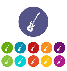 Electric guitar set icons vector
