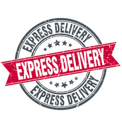 Express delivery red round stamp vector