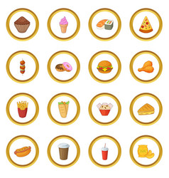 Fast food icons circle vector