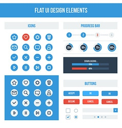 Flat UI basic design elements set vector image