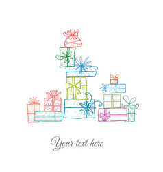 greeting card with colored doodle sketch gift vector image vector image