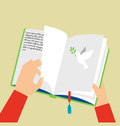 hands holding notebook with bookmark vector image