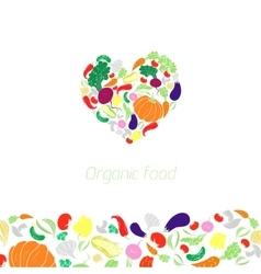 Heart organic vegetables food vector image