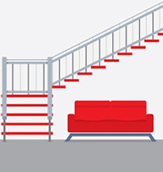 Interior Design Stairs With Sofa vector image