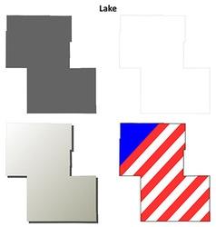 Lake map icon set vector