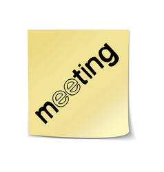 Meeting lettering sticky note template vector