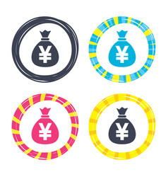 Money bag sign icon yen jpy currency vector