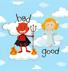 Opposite word for bad and good with angel and vector