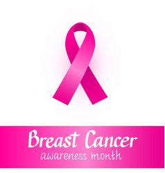 Pink ribbon breast cancer awareness month vector