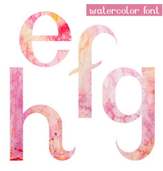 Pink spring watercolor font letters e f g h vector