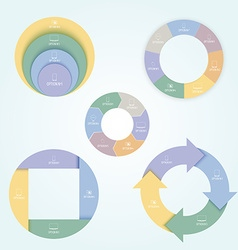 Set of 5 pie charts in a flat style with icons of vector image vector image