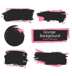 Set of black and pink paint ink brush strokes vector image vector image