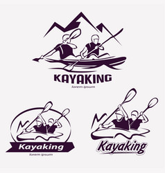 Set of kayaking templates for labels emblems vector